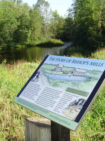 History of Bishops Mills plaque